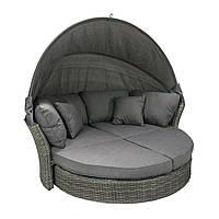 Диван-кровать Muse из искусственного ротанга с навесом серый