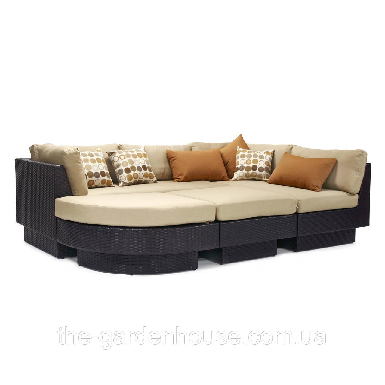 Модульный диван Stella из искусственного ротанга коричневый