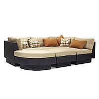 Модульний диван Stella з штучного ротанга коричневий, фото 1