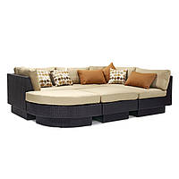 Модульный диван Stella из искусственного ротанга коричневый, фото 1