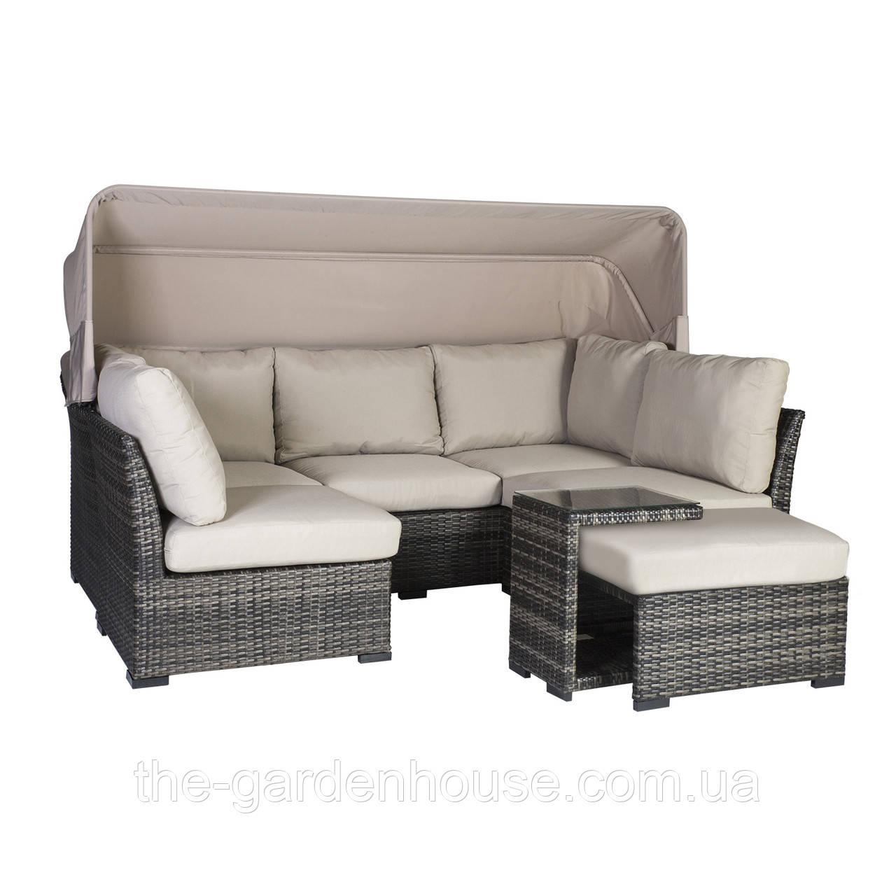 Модульный диванный набор Valora из искусственного ротанга с навесом коричневый