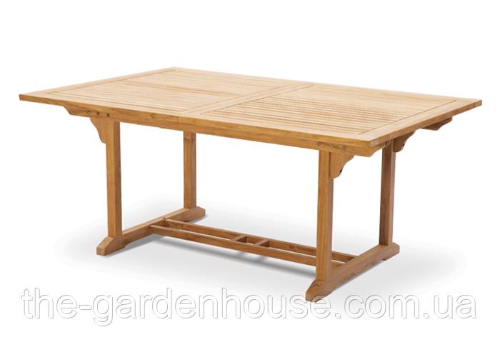 Садовий стіл обідній БЕРГАМО з тикового дерева розкладний 180/240 см