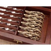 """Шампура """"Сокол"""" - 6шт, набор шампуров с бронзовыми ручками в кейсе из натурального дерева"""