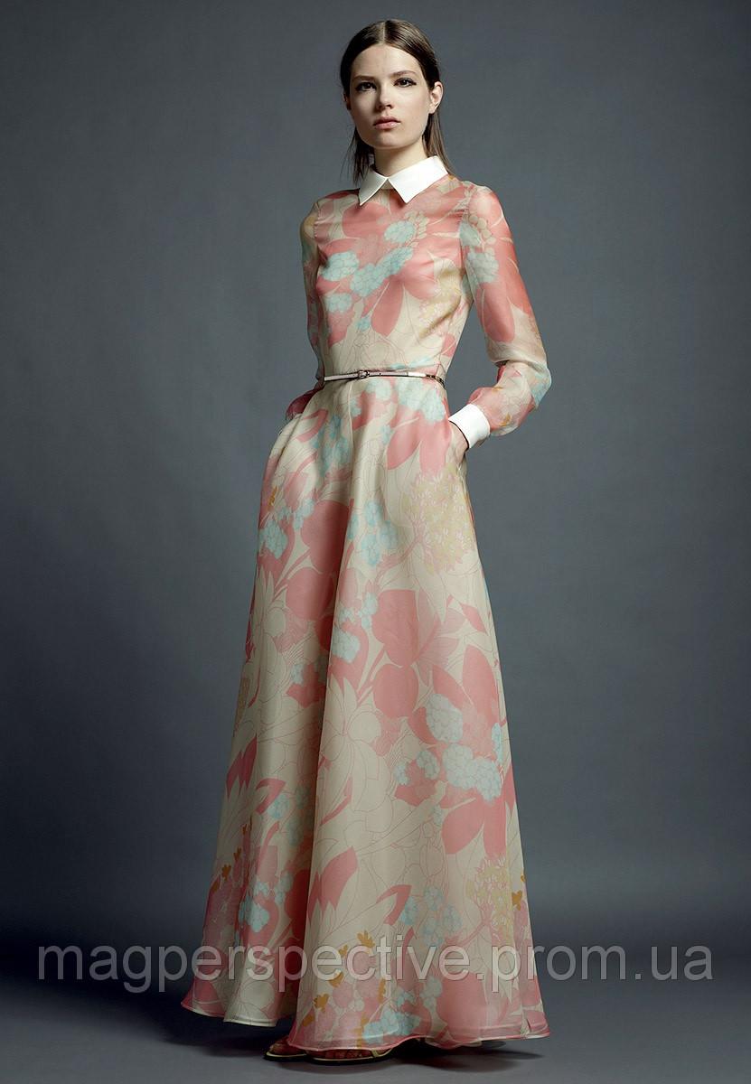 Платье с длинными рукавами шелк