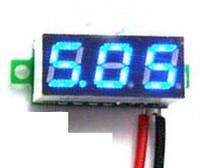 Вольтметр мини 2.5-30В синий дисплей, фото 1