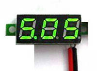 Вольтметр мини 2.5-30В зеленый дисплей, фото 1
