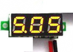 Вольтметр міні 2.7-30В жовтий дисплей