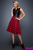 Эффектное Трендовое Платье Клетка+ Эко-кожа Красный р. S M L XL