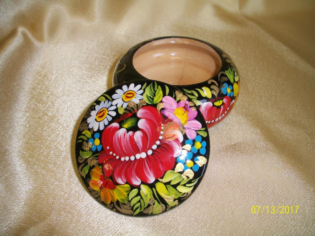 Сувенир Шкатулка для украшений деревянная расписная