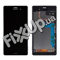 Дисплей Sony Xperia Z3 D6603, D6643 с тачскрином в сборе, с рамкой (цвет черный), большая микросхема, уценка