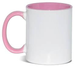 Кружка двухцветная с цветной ручкой, розовая, MUG2T-I