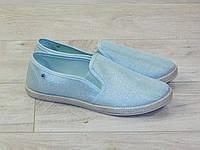 Мокасины (эспадрильи) женские голубые текстильные