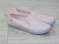 Мокасины (эспадрильи) женские розовые текстильные