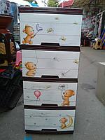 """Комод пластиковый """"Алеана"""", коричневый Мишки производство Украина"""