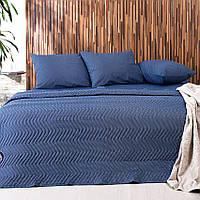 Одеяло летнее и постельное белье: набор Горох синий