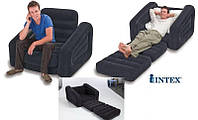 Надувное кресло-кровать трасформер с мягким покрытием Intex 68565: 109x218x66см