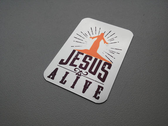 """Магніт металевий:  """"Jesus is alive"""", фото 2"""