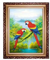 """Вышивка крестом """"Волнистые попугайчики"""" 3D"""