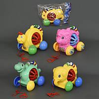 """Каталка 0334-0337 """"Животные"""" на веревке, с погремушкой, 4 вида, в кульке"""