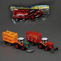 Трактор с прицепом 9020-2 А  инерция, 2 цвета, в кульке
