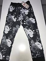 Штаны, темно - серые брюки на девочку с принтом роз