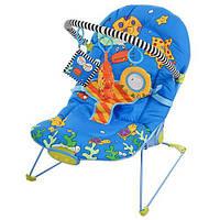 Шезлонг-качалка детский дуга, подвески 3шт, муз, вибро, 3 полож, синий