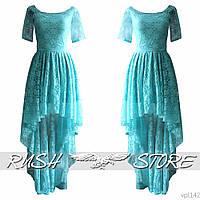 Гипюровое платье в пол асимметричное