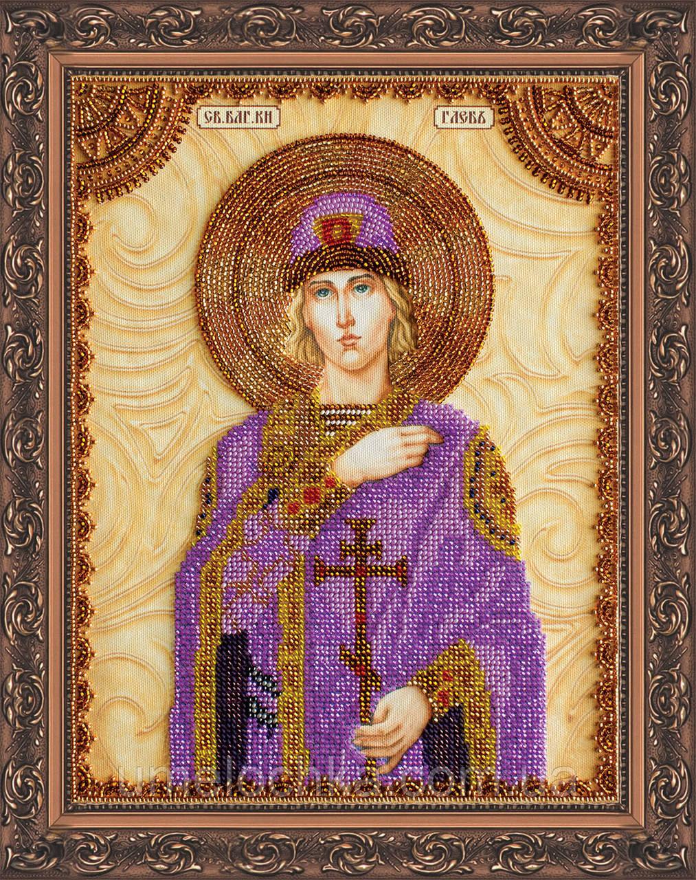 Набор для вышивки бисером на натуральном художественном холсте Святой Глеб