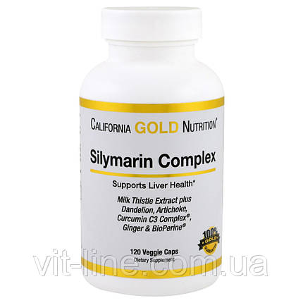 Силимарин комплекс 300 мг California Gold Nutrition120 овощных капсул, фото 2