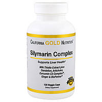 California Gold Nutrition, Силимарин, экстракт расторопши, 300 мг, 120 овощных капсул