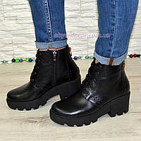Женские зимние кожаные ботинки на шнуровке, черный цвет.