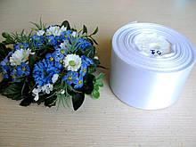 Лента атласная. Ширина 5 см.Цвет белый. 23 м