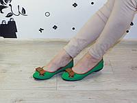 Балетки женские зеленые с бантом эко-кожа