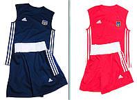 Боксёрская форма 2 комплекта, майка и шорты синий + красный, FB-01