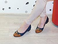 Балетки женские черные с коричневым носком