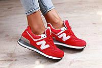 Модные кроссовки New Balance красные замшевые, фото 1