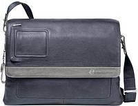 Стильная мужская наплечная сумка из натуральной кожи Piquadro Vibe/Blue-Grey, CA1592VI_BGR синий