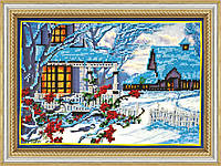 """Набор для вышивки бисером на натуральном художественном холсте """"Зимний вечер"""""""
