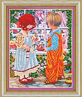 """РАСПРОДАЖА! Набор для вышивки бисером на натуральном художественном холсте """"Первая любовь"""""""