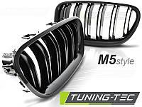 Акция! Решетка радиатора, ноздри на БМВ F10/F11 стиль М5 (черный глянц.)