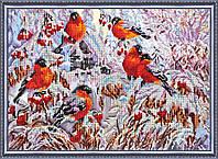 """Набор для вышивки бисером на натуральном художественном холсте """"Снегири"""""""