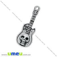 Подвеска металлическая Гитара с черепом, Античное серебро, 32х11 мм, 1 шт (POD-004758)