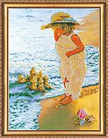 """РАСПРОДАЖА! Набор для вышивки бисером на натуральном художественном холсте """"Песочный замок"""""""