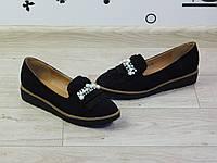 Туфли женские на низком ходу черные замшевые с бахромой и бусинами