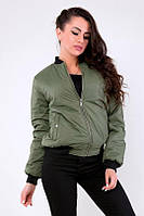 Куртка женская Бомбер утеплённая хакки