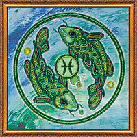 """Набор для вышивки бисером на натуральном художественном холсте """"Знак Зодиака """"Рыбы"""""""