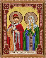Набор для вышивки бисером на натуральном художественном холсте «Икона святого князя Петра и святой княгини Фев
