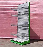 "Торговый стеллаж с корзинами ""Колумб"" 225х65 см, бу"