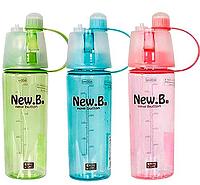 Бутылка New Button с распылителем Цвет:Голубой,Розовый,Салатовый