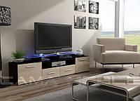 EVORA Тумба для телевизора с мдф глянцевая  черный/кремовый глянец CAMA